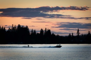 Water skiing dusk lake whatcom