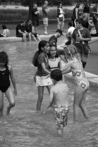 B&W Children Playing Princess of Wales Diana Memorial Fountain Hyde Park London Allan
