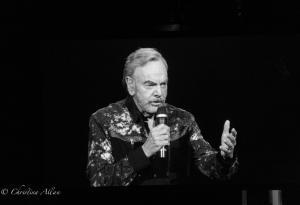Black and white singing with mike Neil Diamond Concert 50th Anniversary Tour Sacramento Allan