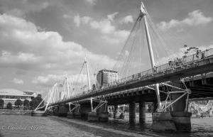 B&W Hungerford Golden Jubilee Bridges London Allan