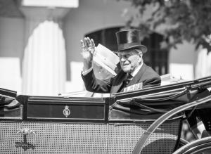 B&W Prince Philip Duke of Edinburgh barouche carriage Trooping the Colour birthday parade London Allan DSC_2677