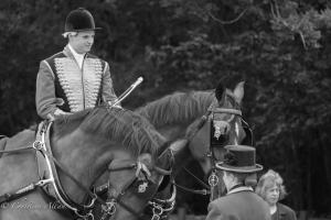 B&W Rider with horses royal ascot procession great windsor park DSC_3401