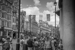 B/W West End Street Scene london allan