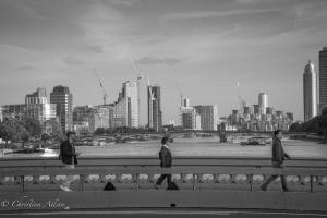 B&W people walking london Abbey road takeoff thames allan