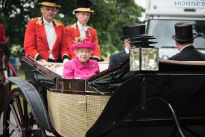 HM Queen Elizabeth II Fuschia hat outfit landau carriage royal ascot procession great windsor park DSC_3425