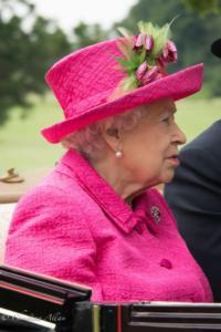 HM Queen Elizabeth II profile fuscia dress and hat ascot royal processions great windsor park allan