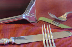 Mom's Silverware Cranberry Green Reflection Allan Sacramento creative