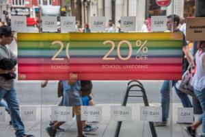 Rainbow pencils school uniforms sign marks & Spencer London Allan