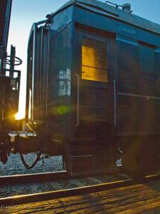Sunset in Old Sacramento with a Train Car