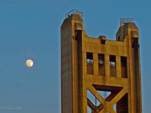 Sacramento's Tower Bridge with Moon