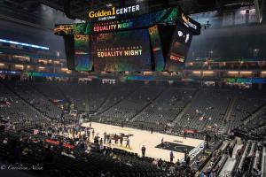 Arena floor Sign Equality Night Sacramento Kings Allan DSC 8902