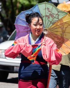 Asian woman rainbow umbrella 6102018 gay pride sacramento allan DSC 0120