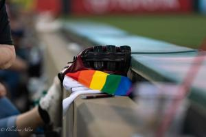 Baseball glove rainbow towel 6292018 River Cats Equality Night West Sacramento Allan-1195