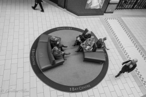 Bay Centre women shoppers sitting victoria b.c. canada allan 0869