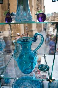 Blue aqua glass pitcher shop Bath England Allan DSC 3107