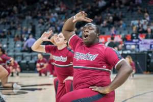 Cheer guy 2 Sign Equality Night Sacramento Kings Allan DSC 8942
