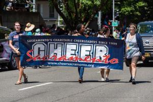 Cheer sacraemnto banner gay pride parade lgbtq sacramento california allan