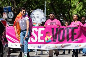 Dancer Vote pink banner 6102018 gay pride sacramento allan