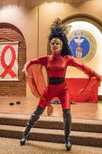 Drag performer red dancing Relent Lace World AIDS Day First UMC Sacramento DSC 5683