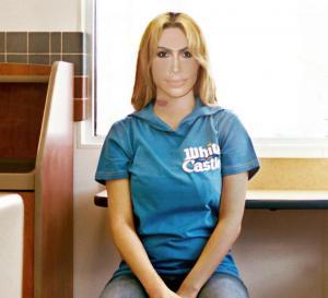 Kim Kardashian make-under mashup burger employee  collage Allan