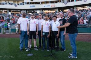 Gay Mens Chorus singing national anthem 2 6292018 River Cats Equality Night West Sacramento Allan-0887