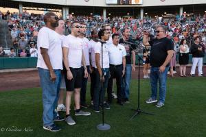 Gay Mens Chorus singing national anthem 6292018 River Cats Equality Night West Sacramento Allan-0881
