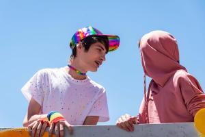 Gay youth male braces rainbow hat float 6102018 gay pride parade lgbtq sacramento california