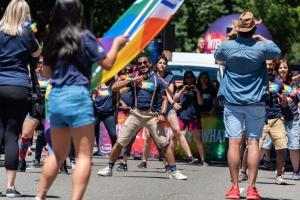 Intel dancer rainbow lei gay pride parade lgbtq sacramento california allan