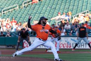 Johnny Cueto Pitching 6292018 River Cats Equality Night West Sacramento Allan-0896