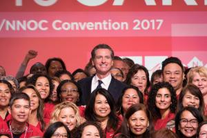 Lt Gov Gavin Newsom with California Nurses Association Union San Francisco 92217DSC 4950