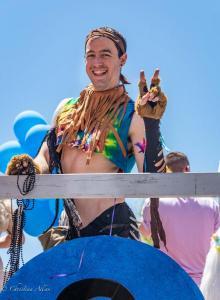 MAn peace sign dog costume 6102018 gay pride parade lgbtq sacramento california allan
