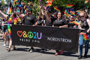 Nordstrom rainblow flags marchers gay pride parade lgbtq sacramento california