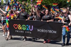 Nordstrom rainblow flags marchers gay pride parade lgbtq sacramento california