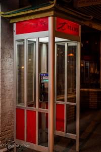 Pagoda telephone booth chinatown night victoria b.c. canada allan 1158