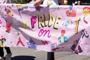 Pride on Lyft pink banner gay pride parade lgbtq sacramento california allan