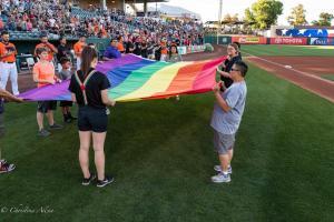 Pride rainbow flag 6292018 River Cats Equality Night West Sacramento Allan-0883