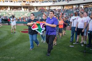 Rainbow flag carriers 6292018 River Cats Equality Night West Sacramento Allan-0873