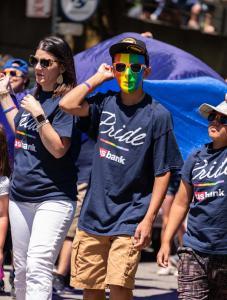 Rainbow mask and u.s. bank sunglasses gay pride parade lgbtq sacramento california