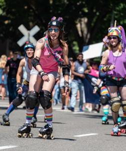 Roller derby woman rainbow socks 6102018 gay pride sacramento allan