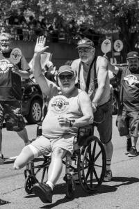 Sacramento valley bear wheelchair waving bw gay pride parade lgbtq sacramento california allan DSC 0171 (1)