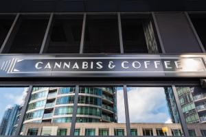 Sign cannabis  coffee shop store toronto ontario urban reflections buildings allan DSC 1660