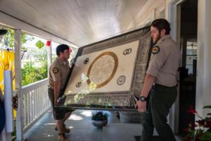 State Park officers carrying framed art house wakamatsu allan -4734