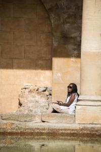 Woman in White Roman Baths Bath England Allan DSC 3168