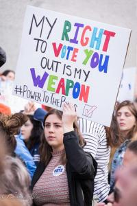 Young woman with voting sign March for Our Lives rally protest guns sacramento california 3242018 DSC 9000